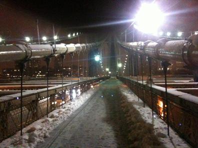 Brooklyn Bridge during snow storm